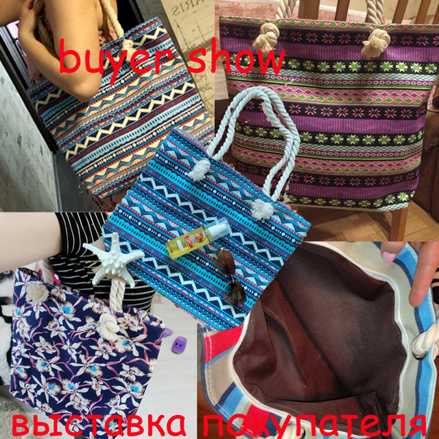 2017 New Summer Women Canvas bohemian style striped Shoulder Beach Bag Female Casual Tote Shopping Big Bag floral Messenger Bags 1
