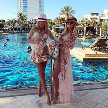 women lace blouse plus size Transparent blouse pink sexy long sleeve 2019 summer beach coat gauze smock outwear Beach Style недорого