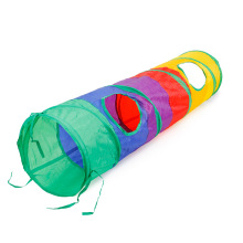 New Funny Cat Tunnel Toy Pet Tent Foldable 2 Holes Colorful Rainbow With Ball Kitten Supplies