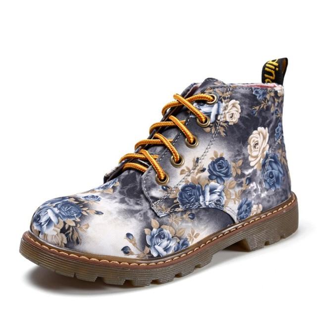 COOTELILI Sonbahar Kadın yarım çizmeler Düşük Topuklu Çiçek Flats rahat ayakkabılar Kadın Oxfords Lace-Up Motosiklet Patik Artı Boyutu 40