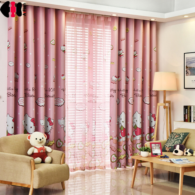 Hello Kitty Cat Printed Curtains Shade Fabric For Kids Girls Bedroom Cotton Polyester Pink And Blue