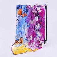 Китайский стиль Новый 100% натурального шелка 90 см квадратный шелковый шарф атласный натуральная Шелковый шарф оптом с цветочным принтом Шел...