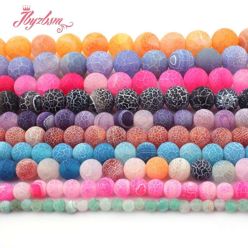 "6,8,10,12mm Round Beads Ball Frost Cracked Agates Loose Natural Stone Beads For DIY Necklace Bracelet Jewelry Making Strand 15""(China)"