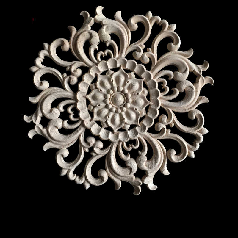 Floral Wood Carved Corner Woodcarving Decal Onlay Applique Decorative Sculpture for Home Furniture Cabinets Decor 15CM 20CM 24CM