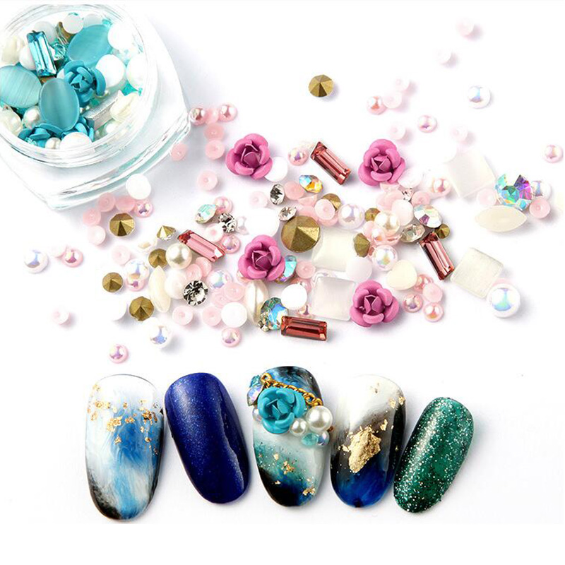 Bittb 1 Box Mixed Nail Resin Rhinestones Gems Rose Pearl Nails Jewelry  Charm Manicure Nail Art Decorations Accessories Tools-in Rhinestones    Decorations ... e7b41815f33a