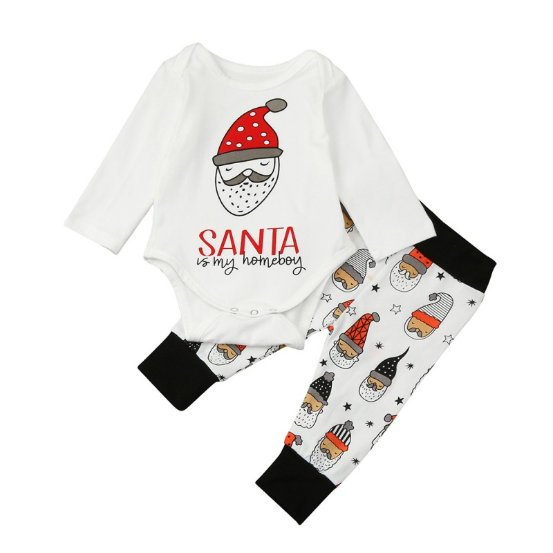 2017 Lovely Baby Boys Girls Set Santa Clause Pattern Baby Rompers 2 pcs Shirt & Pants Kids Sets