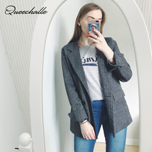 XL XXL 3XL 4XL 5XL 2020 Autumn Plus Size Plaid Blazer Women Formal Loose Jacket