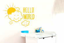 Clouds Sun Pattern Quotes Hello World Room Decoration Art Design Wall Sticker For Kids Baby Bedroom Poster Mural Decals W292 цена
