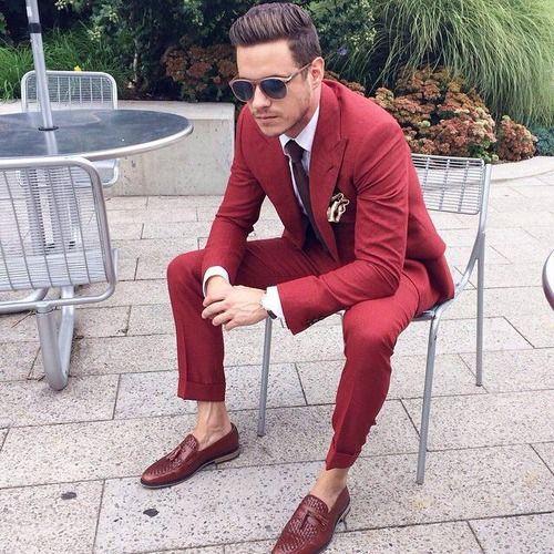 Latest Coat Pant Designs Red Men Suit Slim Fit 2 Piece Tuxedo ...