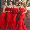 Newest Long Red Sweetheart Mermaid Vestidos De Dress Maid Of 2017  vestidos de festa