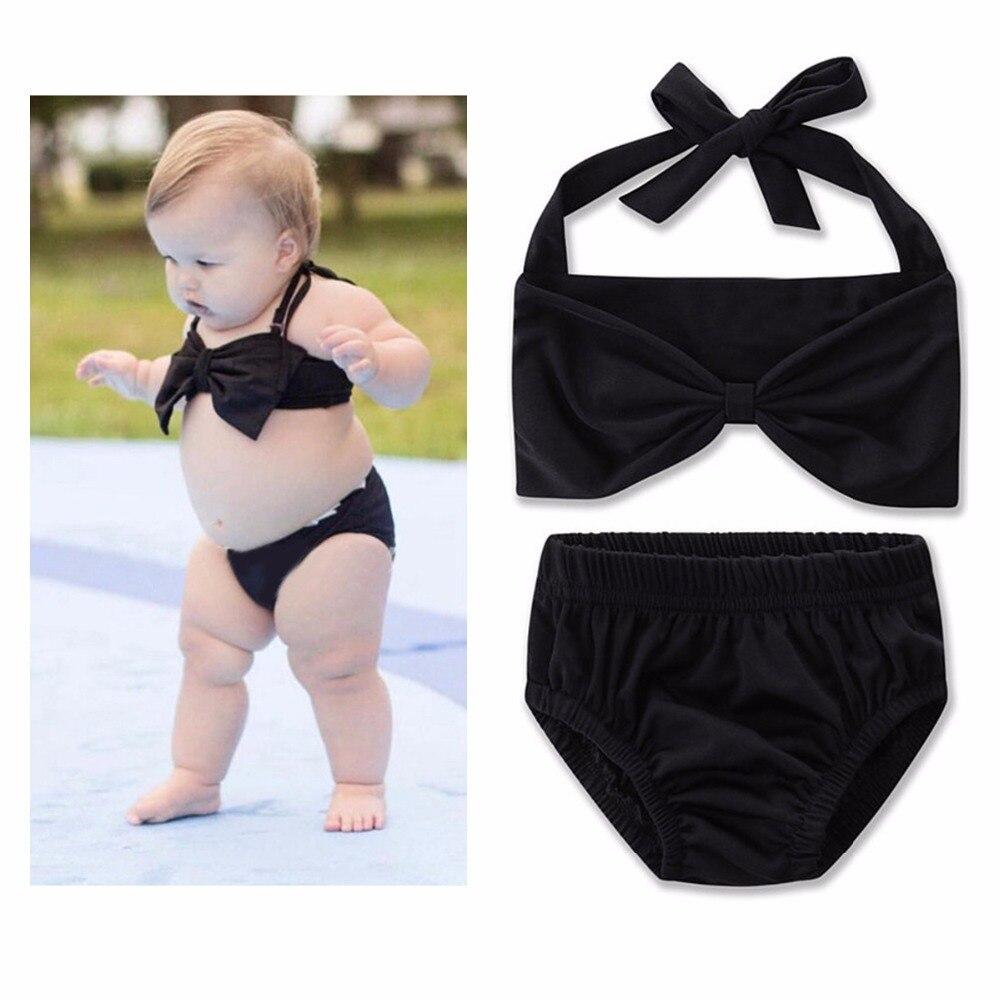 puseky 2 pz bambini delle neonate costumi da bagno set le ragazze di moda carino senza maniche cintura fiocco nero bikini shor