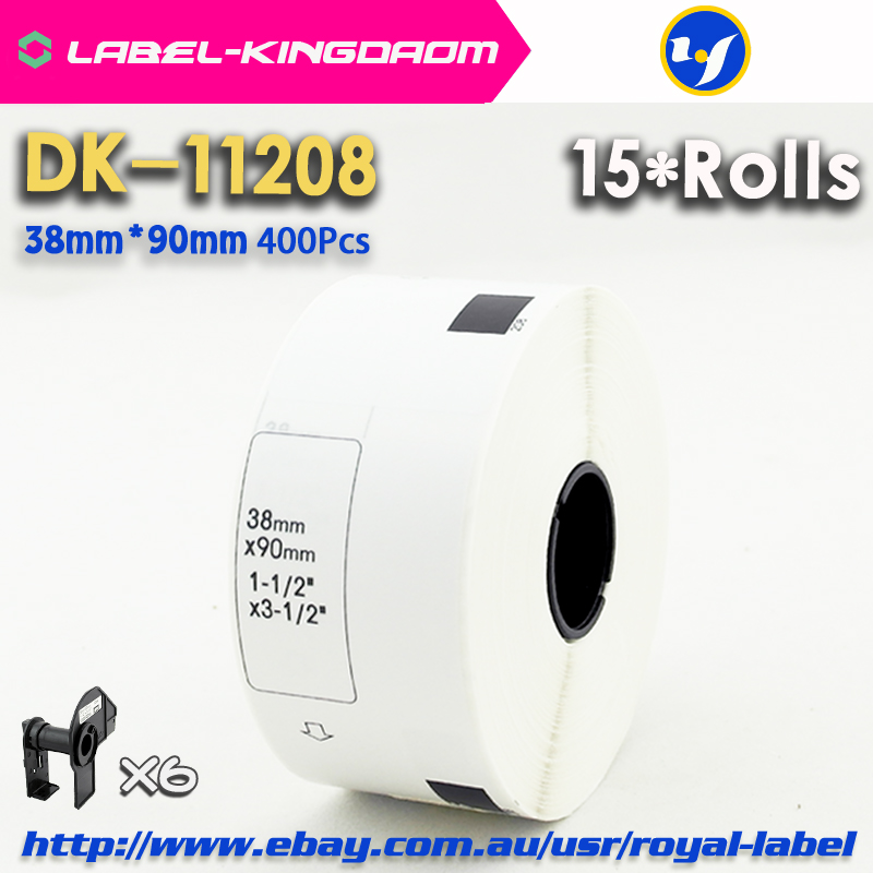 15 Refill Rolls Compatible DK-11208 Label 38mm*90mm 400Pcs Compatible for Brother Label Printer White Paper DK11208 DK-1208