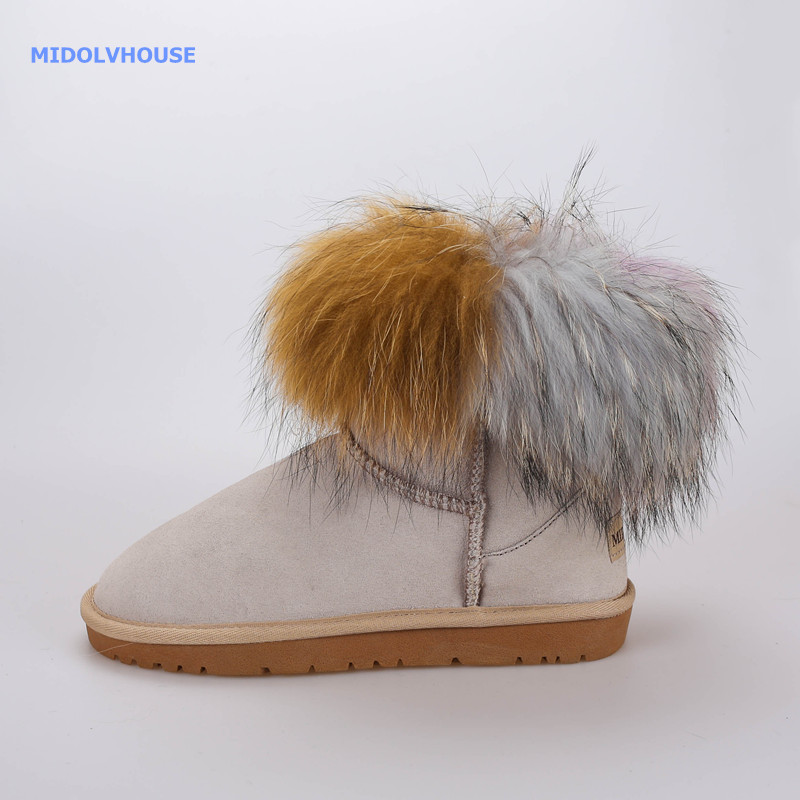MDOLVHOUSE women fashion real fur  boots  in winter snow boots real leather and Mixed color dyeing mdv-1700027
