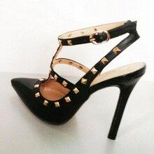 Más el Tamaño 35-41 de Las Mujeres de Tacón Bombas Zapato con Cierre de Tiras Slingback Tachonado Stiletto Zapatos de Boda Sandalias de La Mujer 4 color