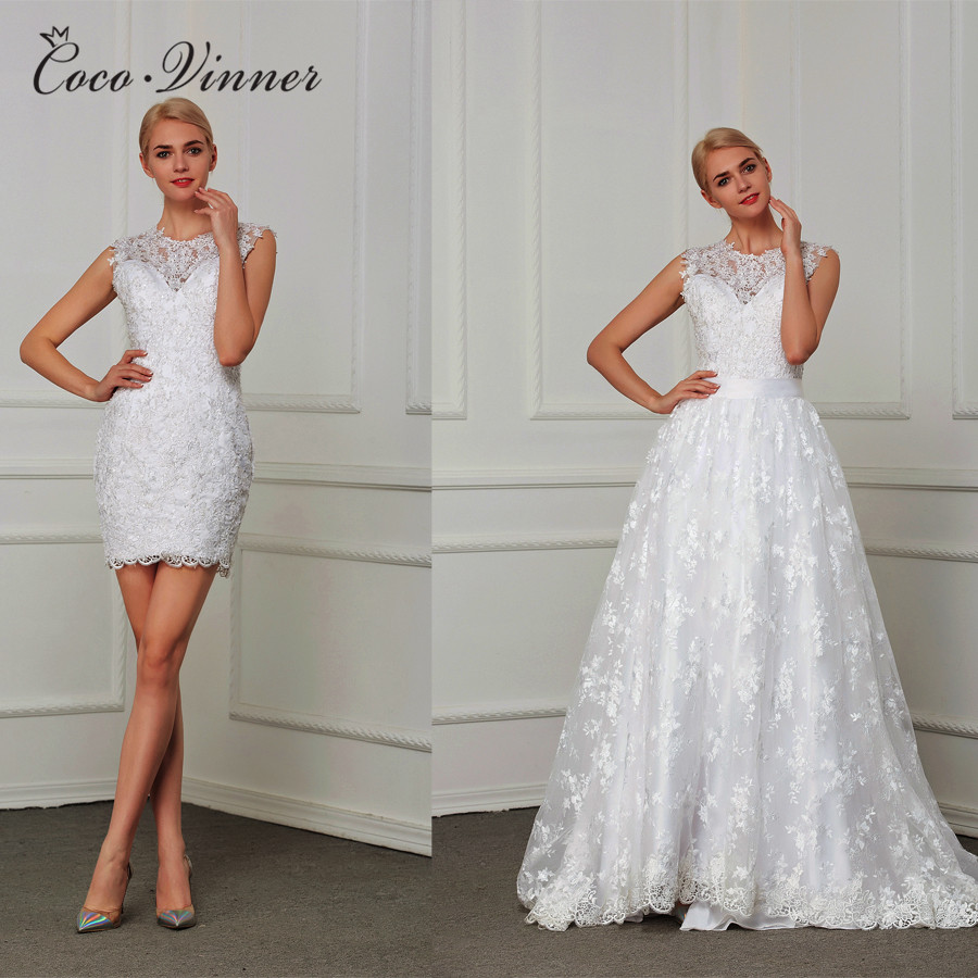 Fashion 2 In 1 A Line Wedding Dress 2019 Detechable Tail Embroidery Plus Size Vestido De Noiva Lace Wedding Gown W0199