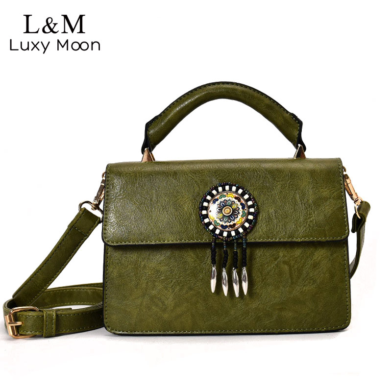 Women Messenger Bag Solid Tassel Vintage Handbag PU Leather For Teenage Girls Shoulder Crossbody Bags Black Female 2017 XA1125H female brand design women bag fashion rivet messenger bags solid pu leather clutch bag vintage crossbody bag punk women handbag