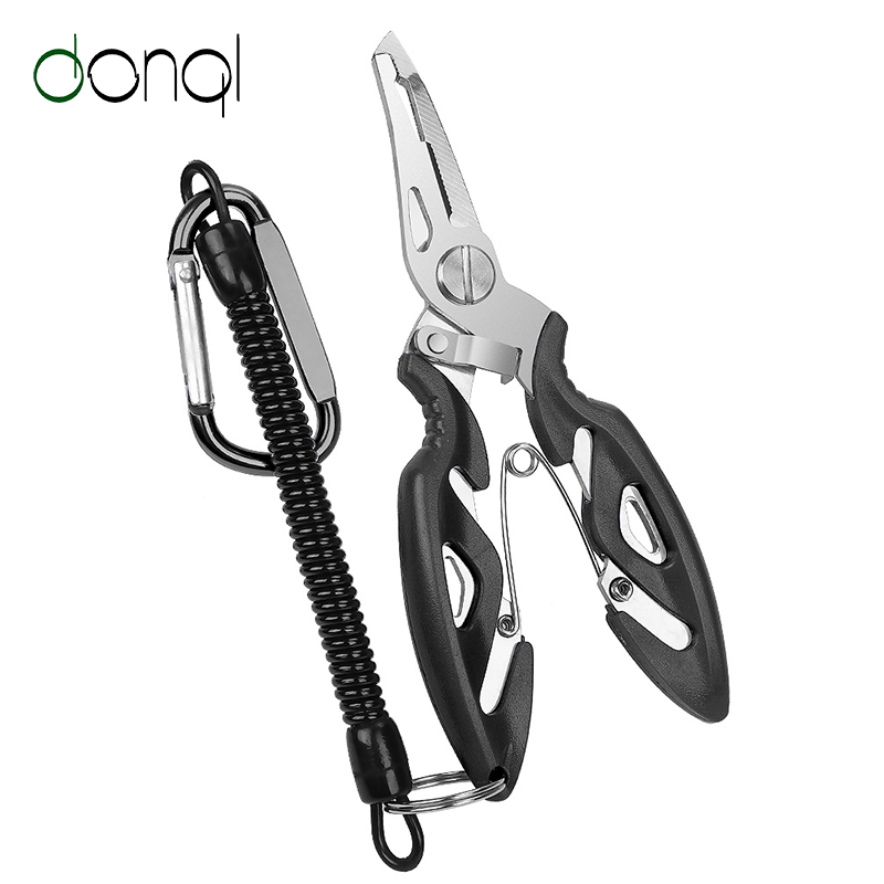 DONQL Multifunctional Fishing Pliers Scissors Line Cutter Hook Remover Fishing Clamp Accessories Tools With Lanyards Spring Rope