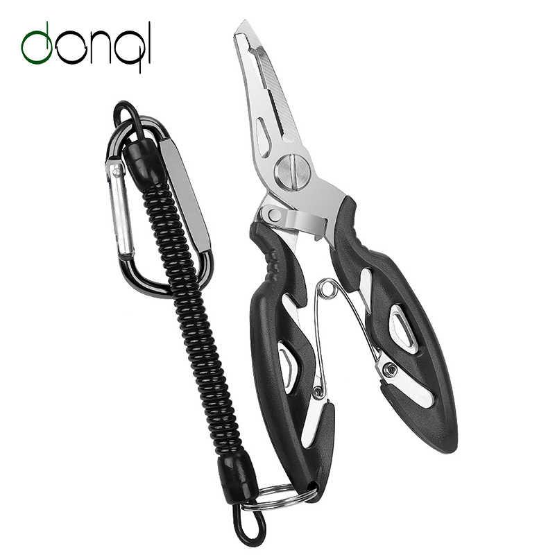 DONQL 多機能フィッシングプライヤーはさみラインカッターフックリムーバー釣りクランプアクセサリーツールとランヤード春ロープ