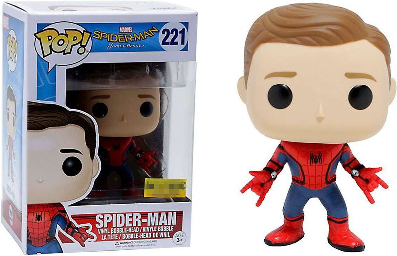Exclusive Funko pop Official Marvel: Spider-Man Homecoming SpiderMan New Suit Unmasked Vinyl Action Figure Collectible Model Toy  funko pop marvel the amazing spider man 45 spiderman 03 bobble head vinyl action figure collectible model toy retail box w42