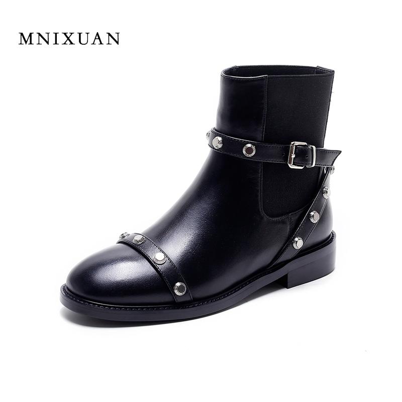 Handmade winter women shoes ankle boots 2017 new arrival genuine leather round toe medium thick heels chelsea boots big size 40 fashion genuine leather chelsea boots handmade keep warm winter boots round toe thick heels concise ankle boots for women l08