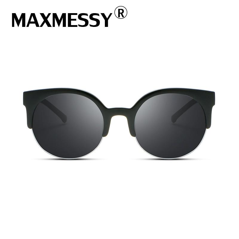 MAXMESSY Semi Rimless Cat Eye Sunglasses Women Dark Glasses Outdoor UV400 Shades Sun Glasses Camping & Hiking Eyewear AS004