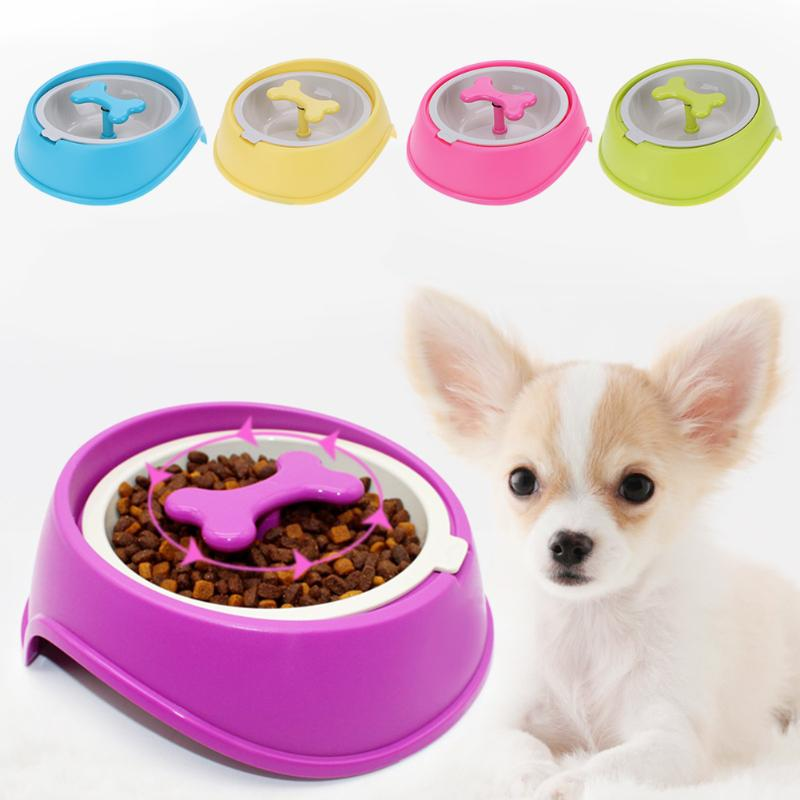 Pet Products Fg43 Free Shipping Pet Plastic Double Bowls With Slot Feeding Food Drinking Water Portable Puppy Dog Cats Eating Feeder Dish