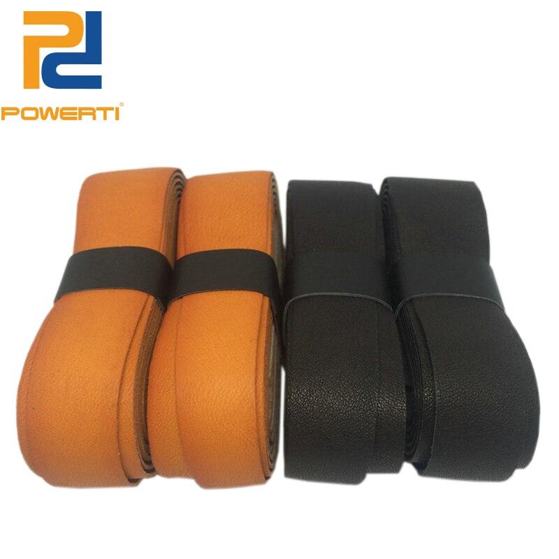 POWERTI 2pcs / lot Pro Cow Leather Tennis Racquet Overgrip OEM Sweatbrand Badminton Overgrip Leather Grip
