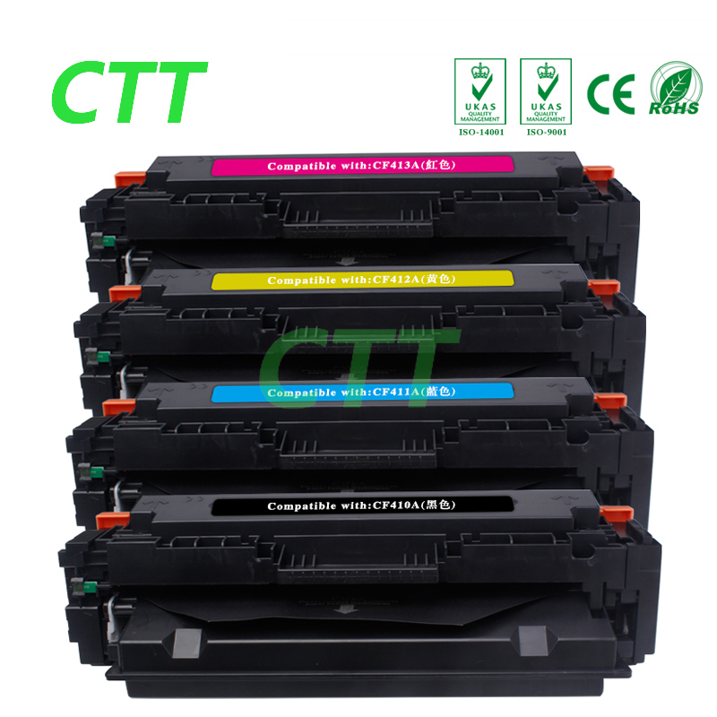 Compatible for 410A CF410A CF411A CF412A CF413A(1 Set 4 color) Toner Cartridge for HP Color LaserJet Pro M452dn/M477fdw/M477fnw