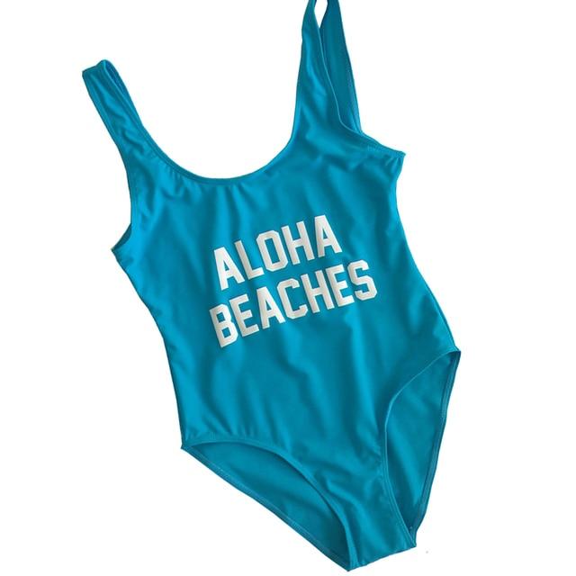 ac4bc5c0db Classic California Women One Piece Bikini Monokini Swimwear One-Piece  Swimsuit Letter Printing High Cut Bathing Suit