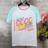 2017 Summer Women Fashion Ice Cream Color Letter Printing Loose T Shirt Hit Color Block Short