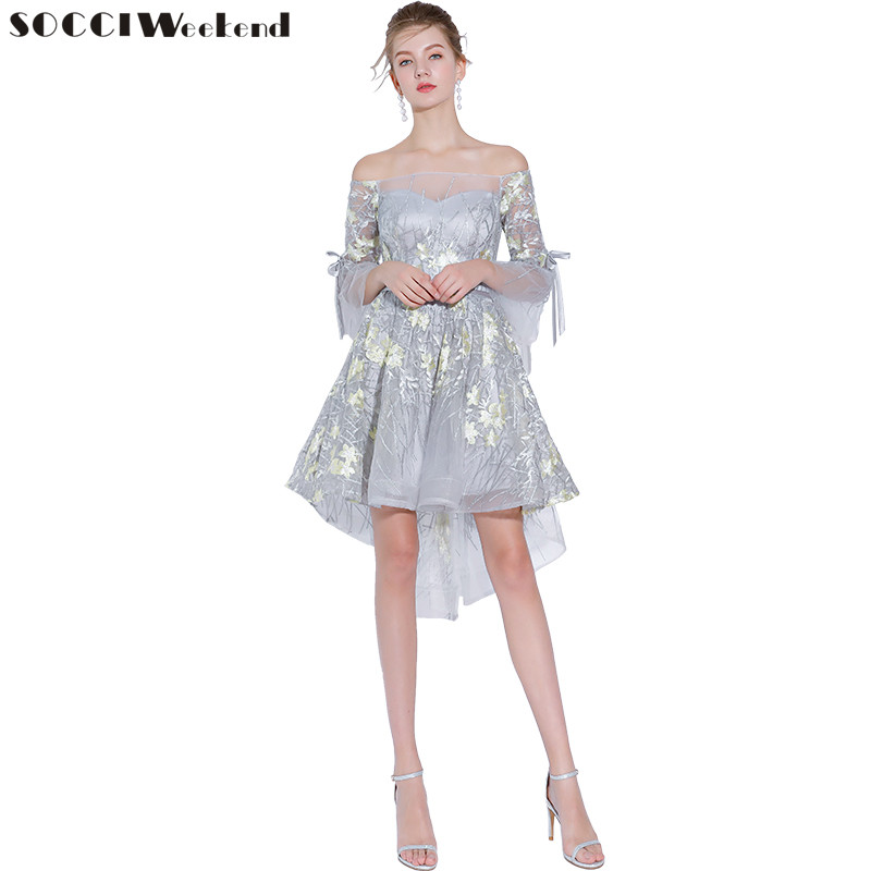 SOCCI Weekend Embroidery Lace   Cocktail     Dresses   2019 New Strapless Off The Shoulder Slim Vestido De Party   Dress   Homecoming Gowns