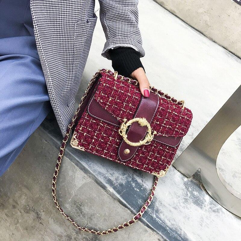 Detail Feedback Questions about FEMALEE Tweed Luxury Handbag Women Shoulder  Bag Designer Woolen Chain Crossbody Bags For Women 2018 Channels Handbags  sac a ... c8b13a1e22d9