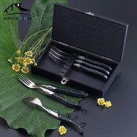 6pcs Laguiole Style Steak Fork Stainless Steel Dinner Forks Black Wood Handle Table forks set Kitchen Cutlery Dinnerware 8.7''