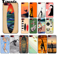 Yinuoda tabla de surf arte surf chica de silicona suave negro teléfono caso para iPhone 8 7 6 6 S Plus 5 5S SE XR X XS X MAX Coque Shell(China)