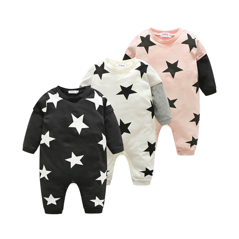 Baby Rompers Infants Long Sleeve Star Printed Rompers Toddlers Jumpsuit Cotton Spring,Autumn,Winter Baby Clothing For 3 to 24 M warm thicken baby rompers winter long sleeve organic cotton autumn