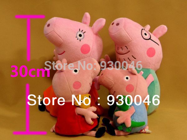 4pcs/set Pig Family Brinquedos Wholesale Stuffed Animals & Plush Toys for Baby Kids 4pcs underwater diving torpedo toys set for kids