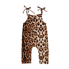 0-24M Newborn Girl Leopard Print Brace Clothes Romper Sleeveless Jumpsuit Playsuit(China)