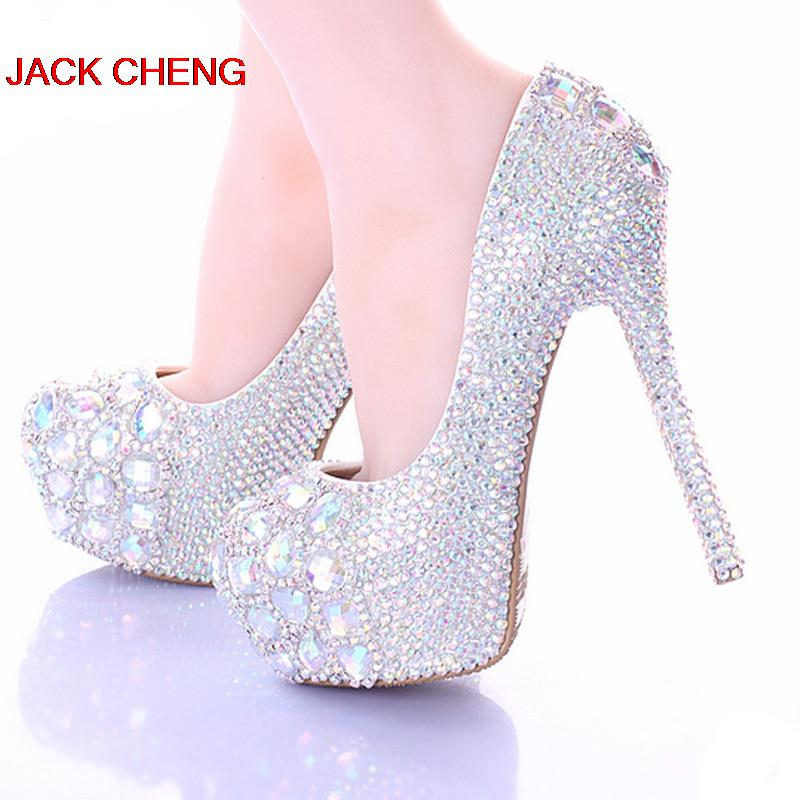 Luxury Sparkly Stiletto Heel Wedding Shoes Crystal Bride Formal Dress Shoes Platform Rhinestone Party Prom Heels 10/12/14cm baoyafang white luxury crystal womens wedding shoes bride lace thin heel high heels party dress shoes woman female shoes