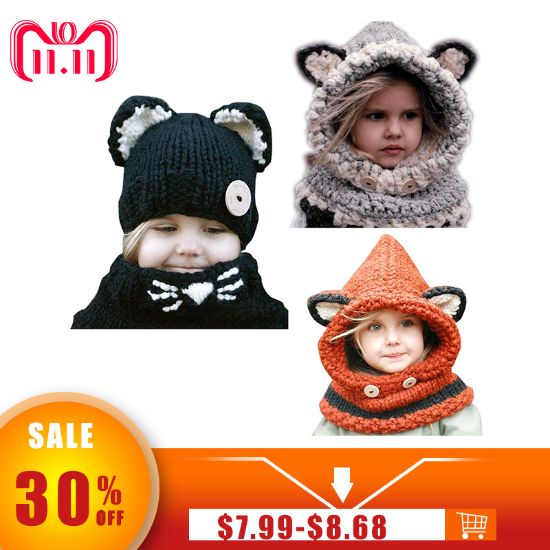 New Design Baby Hat Cap Cat Ear Fox Winter Beanie Hat Children Windproof Hat and Scarf Boy Girl Handmade Knitted Cap Skullies цена