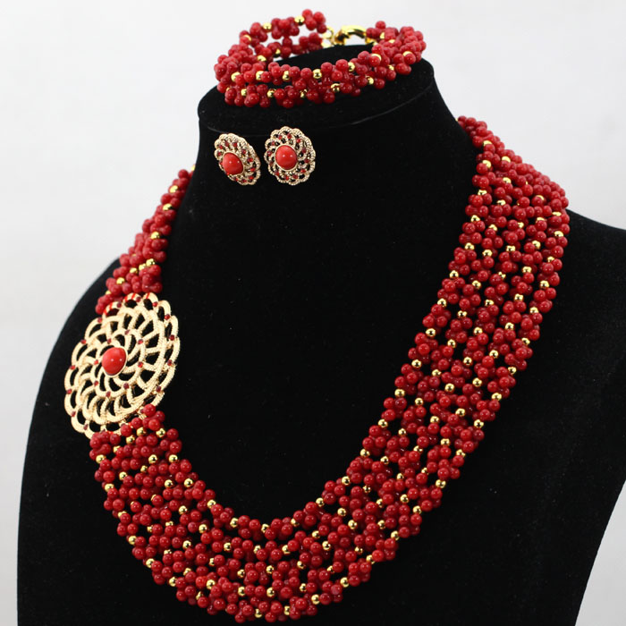 Popular Indian Wedding Coral Beads Necklace Jewelry Set Red and Gold Seed Beaded Bridesmaid Party Jewelry Free Shipping CNR569