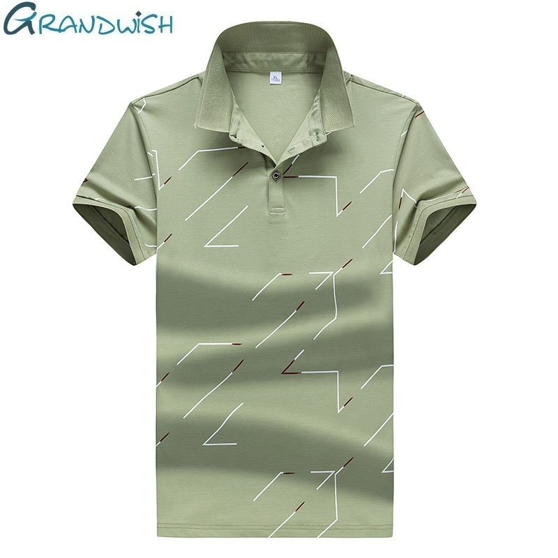 Grandwish Sleeved Cotton   Polos   Shirts Men Ajustado Camisas   Polos   Para Hombre Fork Printed Men's   POLOS   Shirts Breathable, DA674