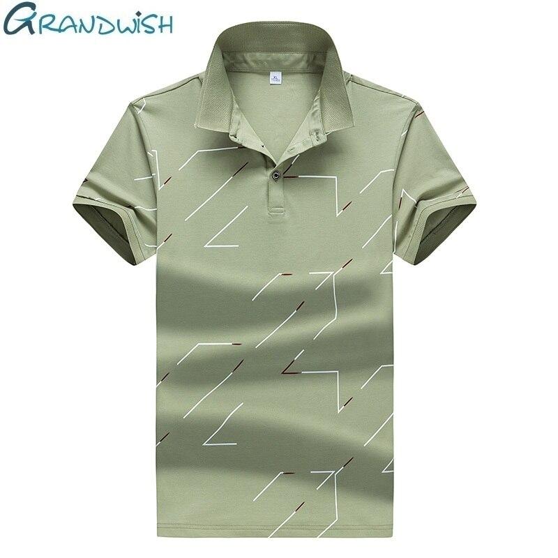 Grandwish Sleeved Cotton   Polos   Shirts Men Ajustado Camisas   Polos   Para Hombre Fork Printed Men's   POLOS   Shirts Breathable, DA674