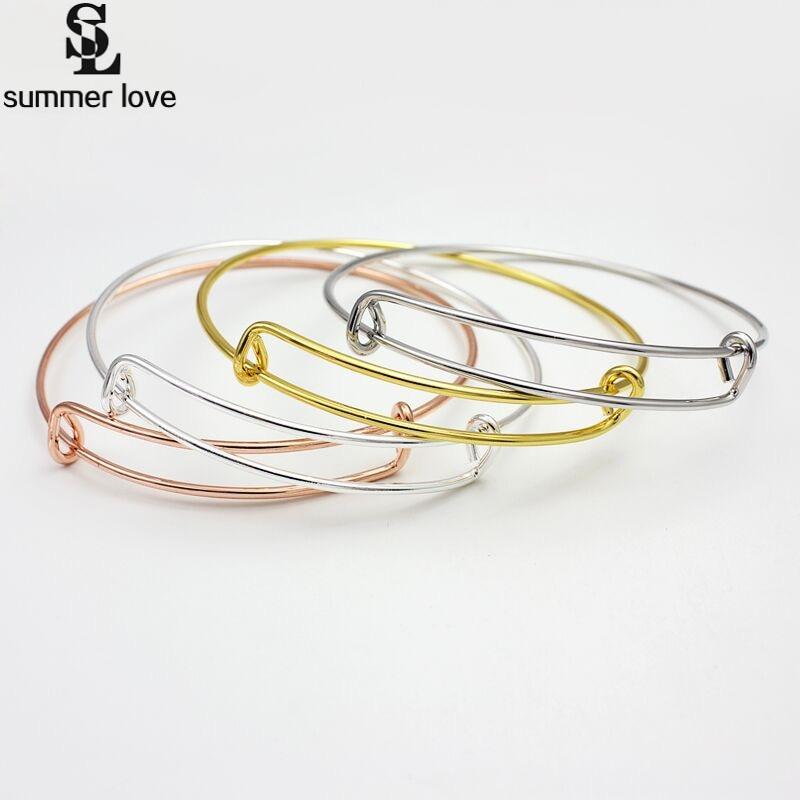 50mm 58mm 65mm 70mm Adjustable Wire Bracelet Simple DIY Cabls