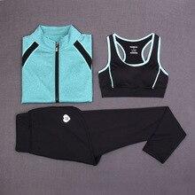 New Sport Suit Women Yoga Set Gym Workout Sportwear Women s 3 Pieces Jacket Crop Top