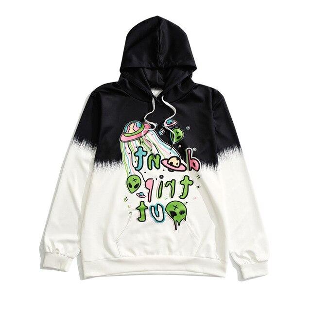 UFO Alien Hoodie Women Tie Dye Black White Cool Hip Hop Sweatshirt  Fantastic Girl Street Hoodies Casual Loose Hooded Pullover b5428028f9