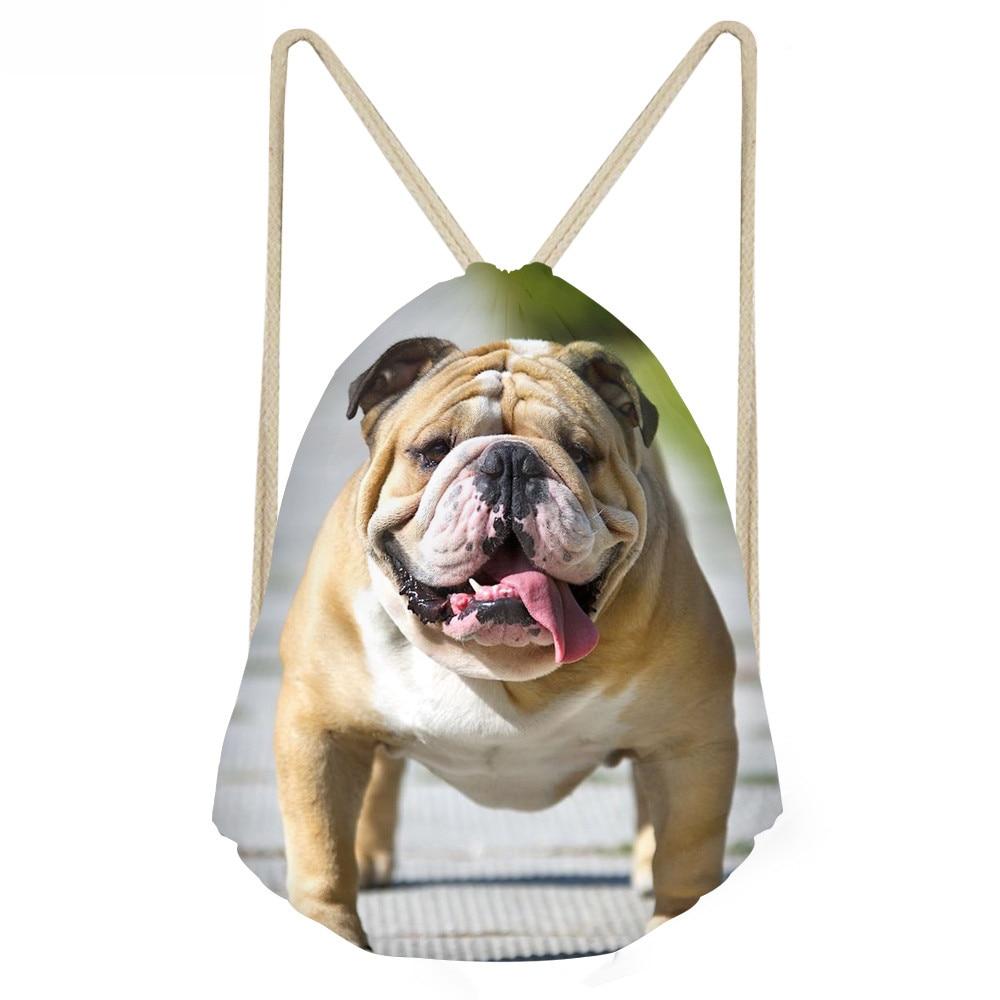 ThiKin Cute 3D Animal Pug Dog Print Drawstring Bags Casual Soft School Book Bagsfor Women Men Teen Girl Boy School Bags