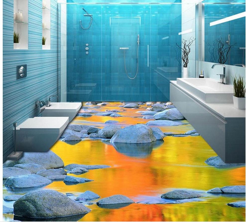 Waterproof Bathroom Walllpaper: 3d Wallpaper Pvc Cobbled Water Bathroom Floor 3d Wallpaper