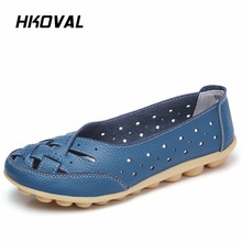 HKOVAL Women Shoes Sneakers Casual Genuine Leather Woman Flats Slip On Female Loafers Lady Boat Shoe Big Size 35-44 все цены
