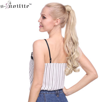 SNOILITE Long wavy Clip In Hair Tail False Hair Ponytail Hairpiece With Hairpins Synthetic Hair Pony Tail Hair Extensions 1