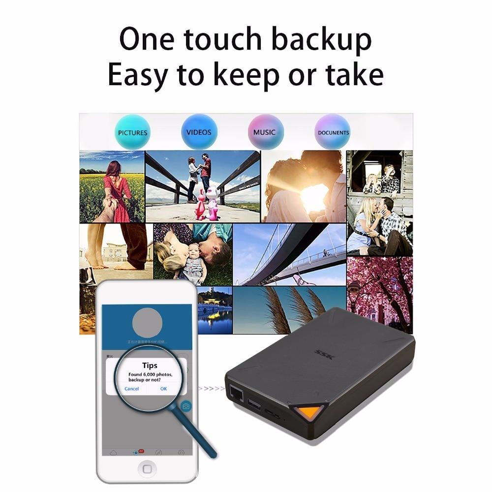 SSK SSM F200 Portable Wireless smart storage 1TB Cloud Storage hard disk 2.4GHz WiFi External Drives Support Remote Management